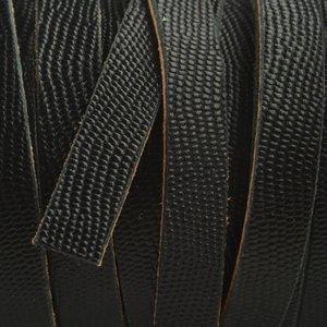 Zwart Plat soft nappa leer zwart gegraveerd reptiel 10x2,5mm - prijs per cm