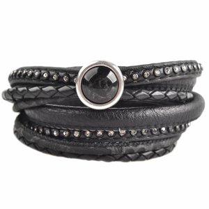 Zwart DIY dubbele Crystal Black bracelet