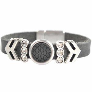 Grijs DIY Swarovski & Leer DQ armband Dark grey