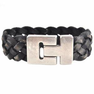 Zwart DIY Rough leather armband Black 20mm