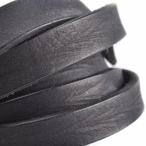 Zwart Vintage leer Zwart grijs 20x3mm - prijs per cm