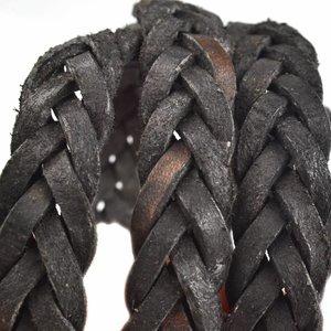 Zwart Vintage gevlochten leer Zwart 13x4mm - prijs per cm