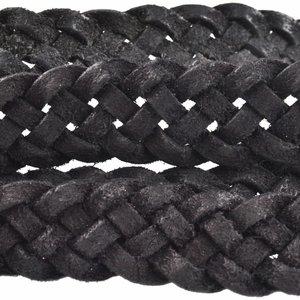 Zwart Vintage gevlochten leer geschuurd Zwart 20x3mm - prijs per cm