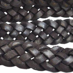 Zwart Vintage gevlochten leer vintage Zwart 20x3mm - prijs per cm