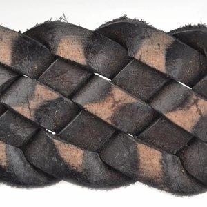Bruin Vintage gevlochten leer Vintage Zwart bruin 30x3mm - prijs per cm