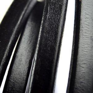 Zwart Ovaal leer 10x6mm zwart - 20cm