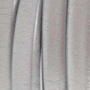Grijs Ovaal leer 10x6mm Vintage metallic zilver - 20cm