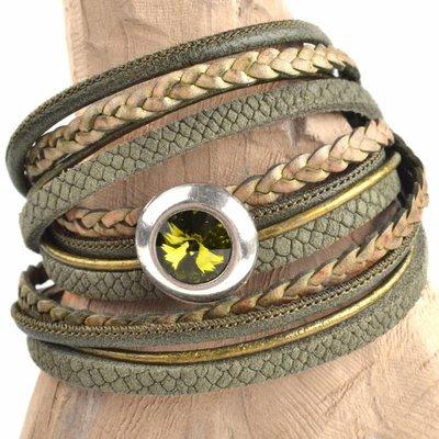 Groen DIY 3-dubbele swarovski Olive green bracelet