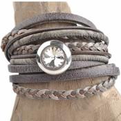 Grijs DIY 3-dubbele swarovski Greige bracelet