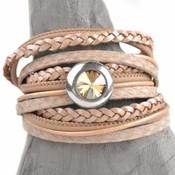 Bruin DIY 3-dubbele swarovski Nude peach bracelet