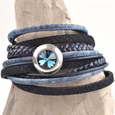 Blauw DIY 2-dubbele swarovski Dark blue bracelet