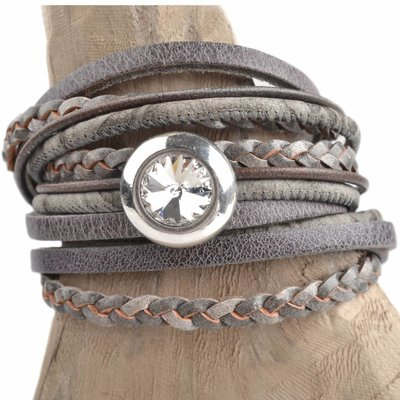 Grijs DIY 2-dubbele swarovski Greige bracelet