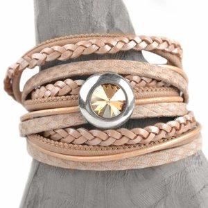 Bruin DIY 2-dubbele swarovski Nude peach bracelet