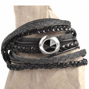 Zwart DIY 2-dubbele swarovski Black bracelet