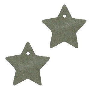 Groen Leer hanger ster klein Olive green 25mm
