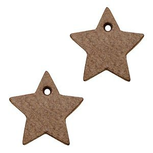 Bruin Leer hanger ster klein Chocolate brown 25mm