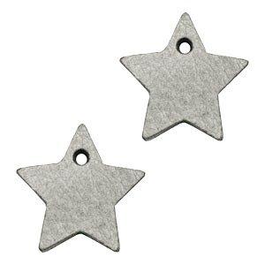 Grijs Leer hanger ster klein Graphite grijs 25mm