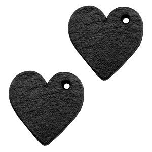 Zwart Leer hanger hart klein Midnight black 25mm