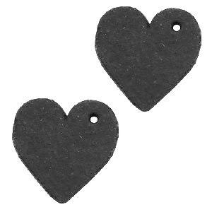 Zwart Leer hanger hart klein Vintage black 25mm