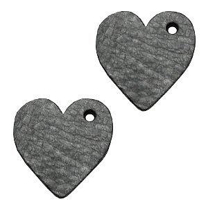 Zwart Leer hanger hart klein Antracita zwart 25mm