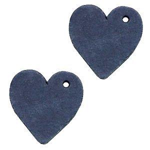 Blauw Leer hanger hart klein Dark denim blue 25mm