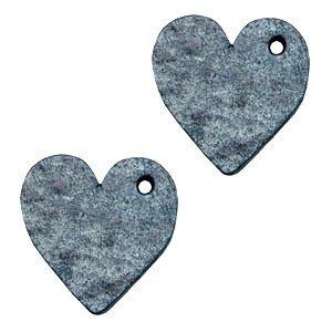 Blauw Leer hanger hart klein Vintage blue 25mm