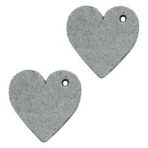 Grijs Leer hanger hart klein Grey 25mm