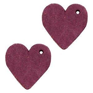 Rood Leer hanger hart klein Light aubergine red 25mm