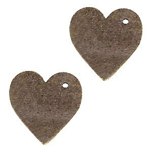 Bruin Leer hanger hart klein Dark vintage brown 25mm