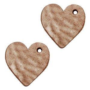 Bruin Leer hanger hart klein Smoke cognac brown 25mm