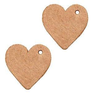 Bruin Leer hanger hart klein Light cognac brown 25mm