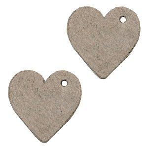 Bruin Leer hanger hart klein Vintage brown 25mm
