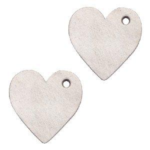 Grijs Leer hanger hart klein Country grey 25mm