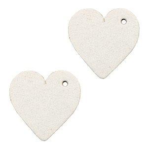 Wit Leer hanger hart klein Off white 25mm