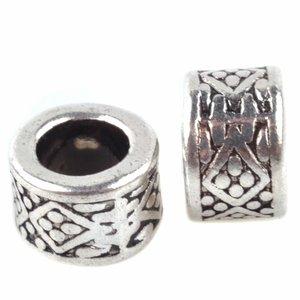 Zilver Kraal ruit & dots Ø4.5mm Zilver 8x5mm - 6 stuks