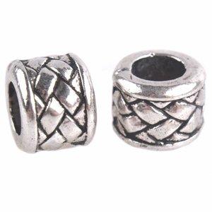 Zilver Kraal vlecht Ø5,5mm Zilver 10x8mm - 4 stuks