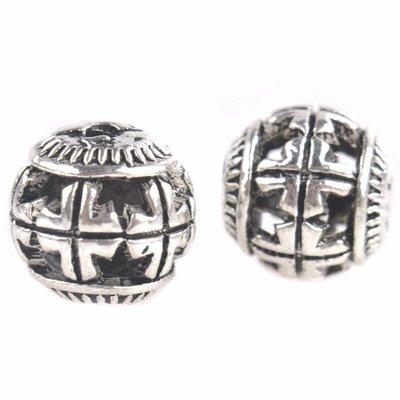 Zilver Holle kraal Ø2mm kruizen 10mm