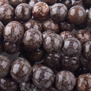 Bruin Edelsteen rond Snowflake Obsidian Chocolate 10mm