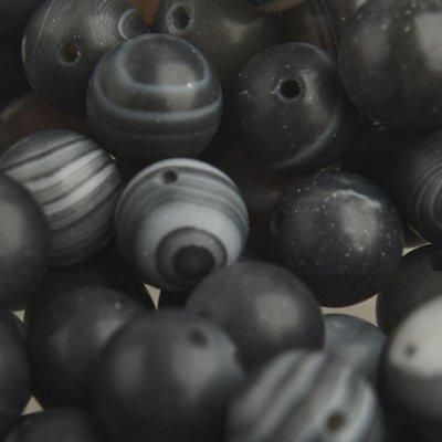 Zwart Edelsteen rond Frosted Striped Agaat black 10mm