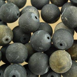 Zwart Edelsteen rond Frosted Gold sheen Obsidiaan 10mm