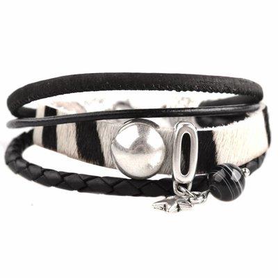 Zwart DIY armband Hairy leer zebra black&white