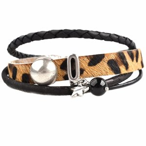Zwart DIY armband Hairy leer panter Black& Brown