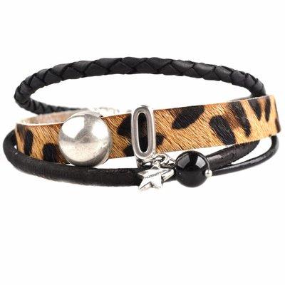 Zwart DIY armband Hairy leer panter Black& Brown