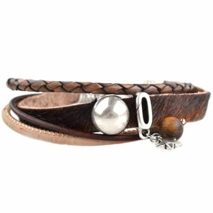 Zwart DIY armband Hairy leer Brown & Sand