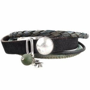 Zwart DIY armband Hairy leer Black & Green