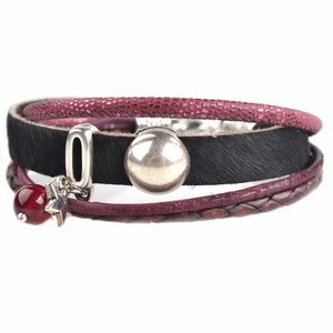 Zwart DIY armband Hairy leer Black & Cherry