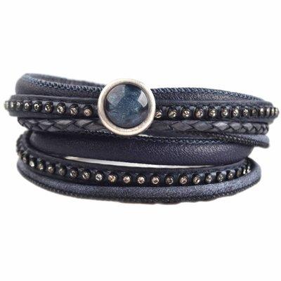 Blauw DIY dubbele Crystal Dark blue bracelet
