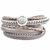 Grijs DIY dubbele Crystal Light grey bracelet