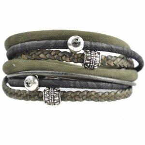 Groen DIY dubbele Swarovski & velvet Green bracelet