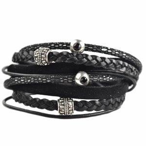 Zwart DIY dubbele Swarovski & velvet Black bracelet
